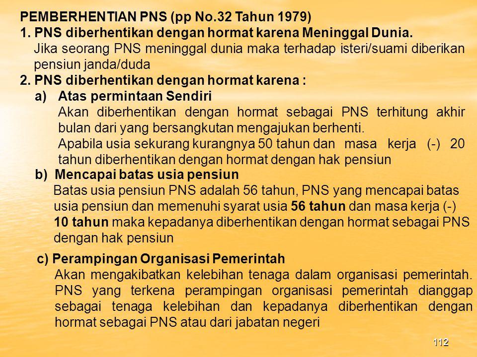 PEMBERHENTIAN PNS (pp No.32 Tahun 1979)