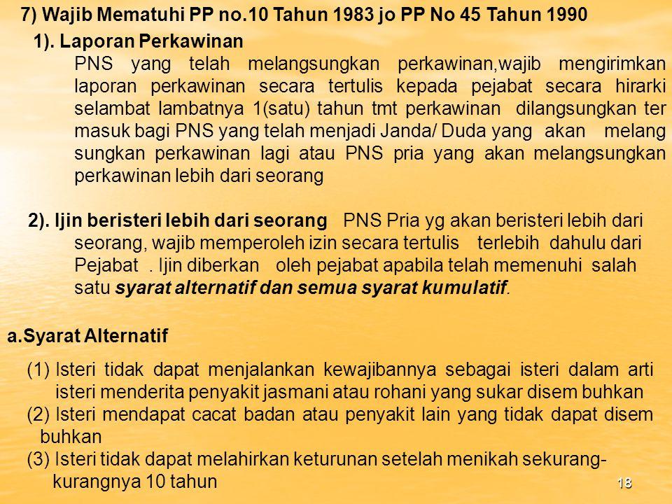 7) Wajib Mematuhi PP no.10 Tahun 1983 jo PP No 45 Tahun 1990