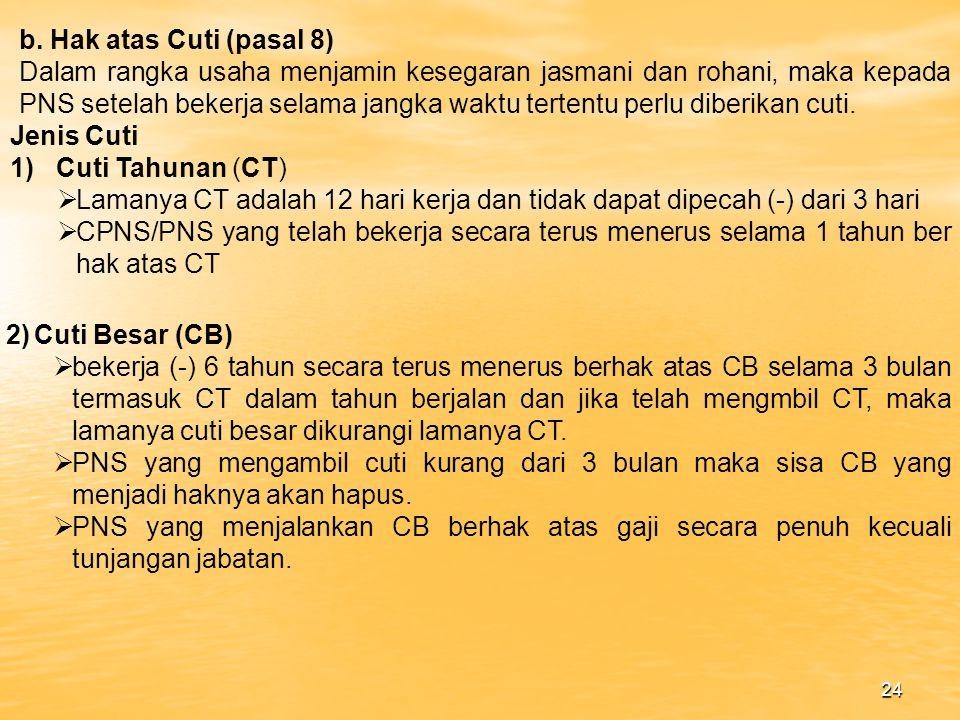 b. Hak atas Cuti (pasal 8)