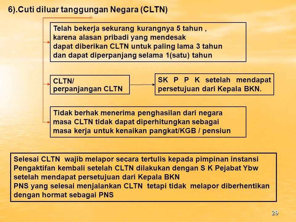 6).Cuti diluar tanggungan Negara (CLTN)