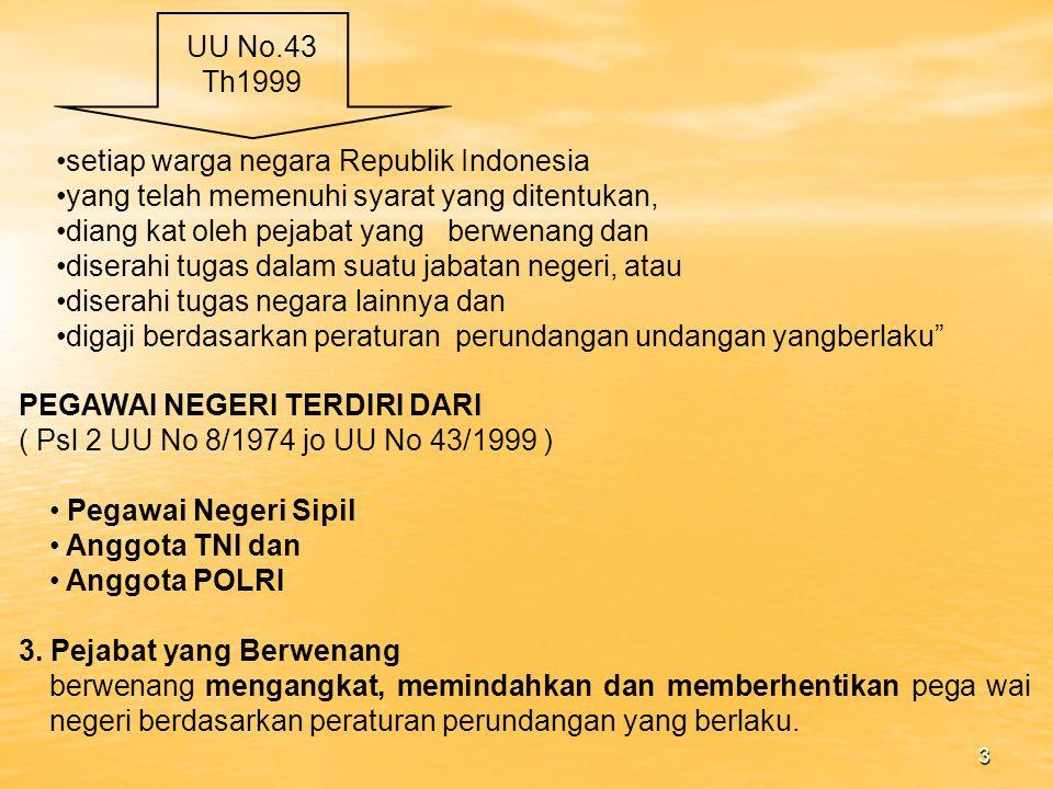 UU No.43 Th1999 setiap warga negara Republik Indonesia. yang telah memenuhi syarat yang ditentukan,