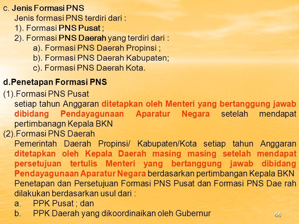 c. Jenis Formasi PNS Jenis formasi PNS terdiri dari : 1). Formasi PNS Pusat ; 2). Formasi PNS Daerah yang terdiri dari :