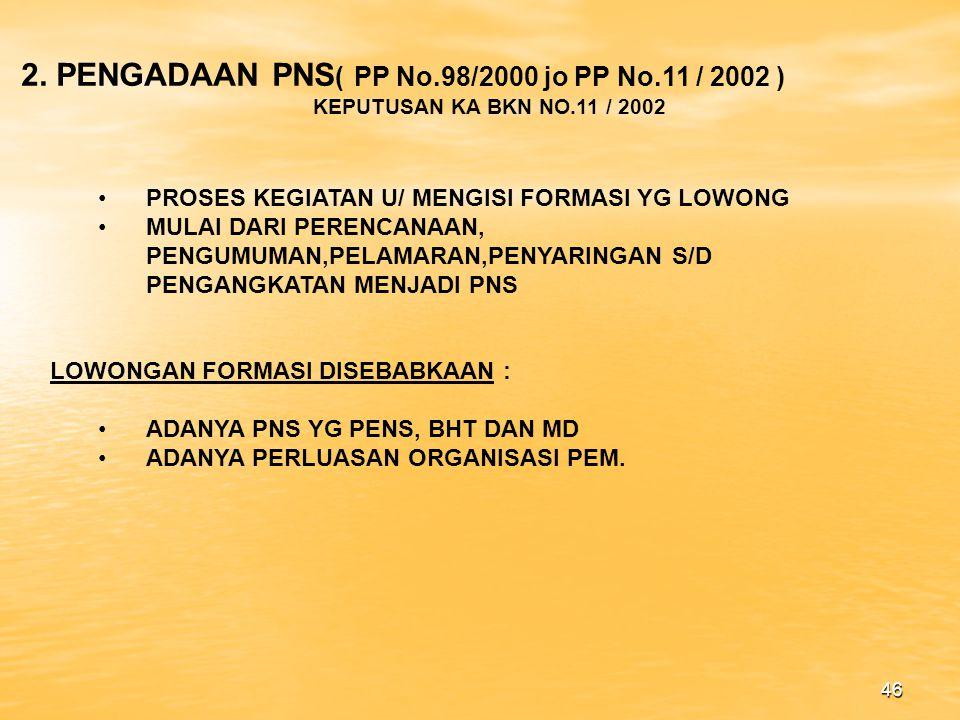 2. PENGADAAN PNS( PP No.98/2000 jo PP No.11 / 2002 )