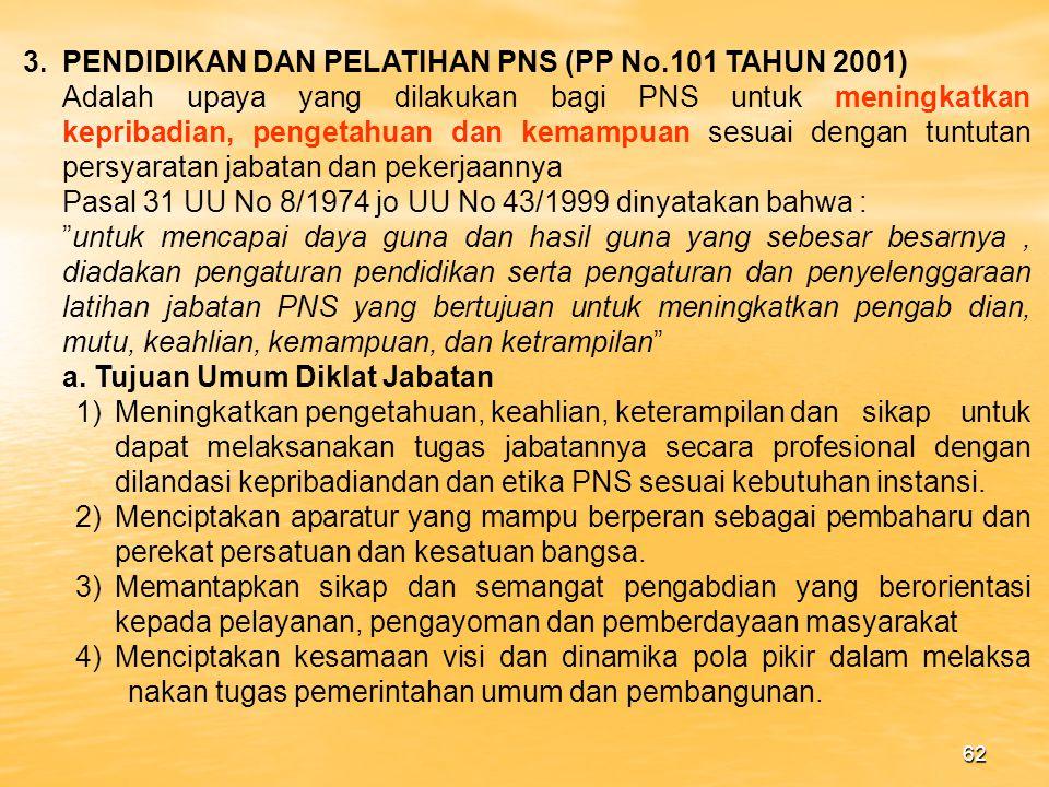 3. PENDIDIKAN DAN PELATIHAN PNS (PP No.101 TAHUN 2001)
