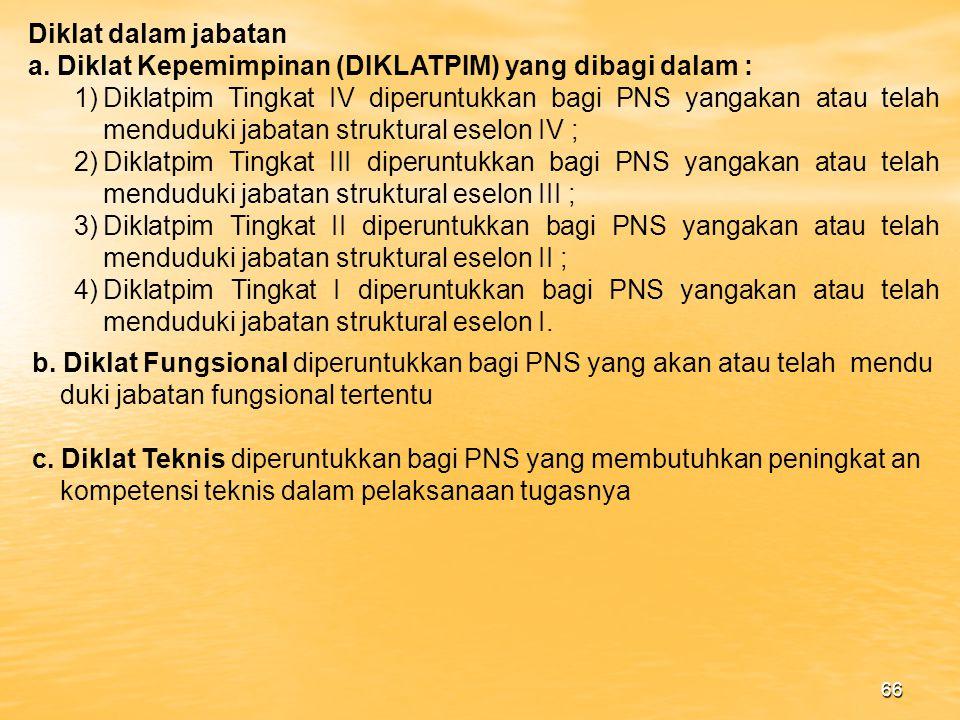 Diklat dalam jabatan a. Diklat Kepemimpinan (DIKLATPIM) yang dibagi dalam :