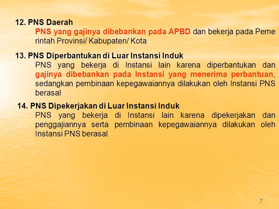 12. PNS Daerah PNS yang gajinya dibebankan pada APBD dan bekerja pada Peme rintah Provinsi/ Kabupaten/ Kota.