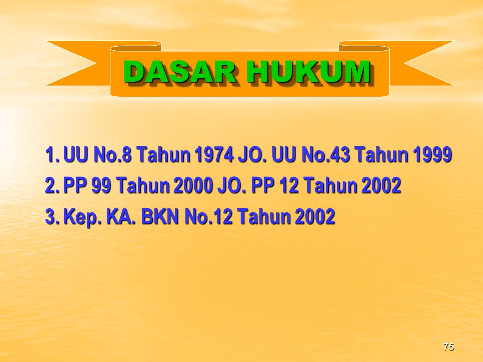 DASAR HUKUM 1. UU No.8 Tahun 1974 JO. UU No.43 Tahun 1999