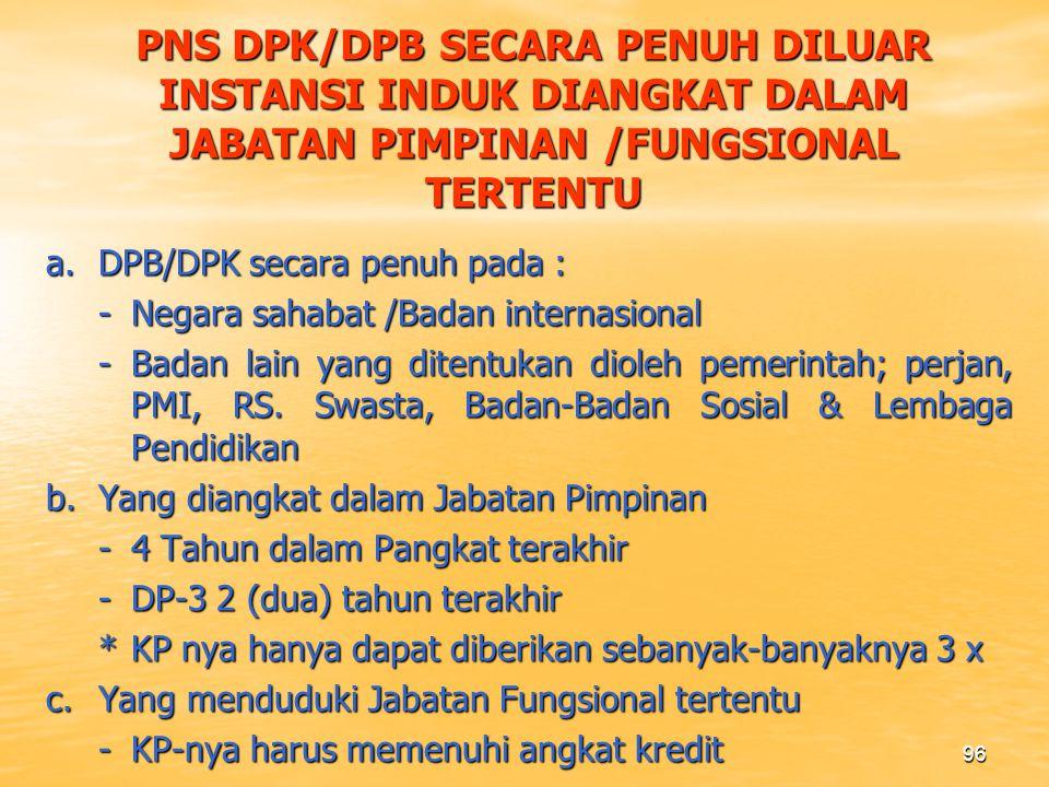 PNS DPK/DPB SECARA PENUH DILUAR INSTANSI INDUK DIANGKAT DALAM JABATAN PIMPINAN /FUNGSIONAL TERTENTU