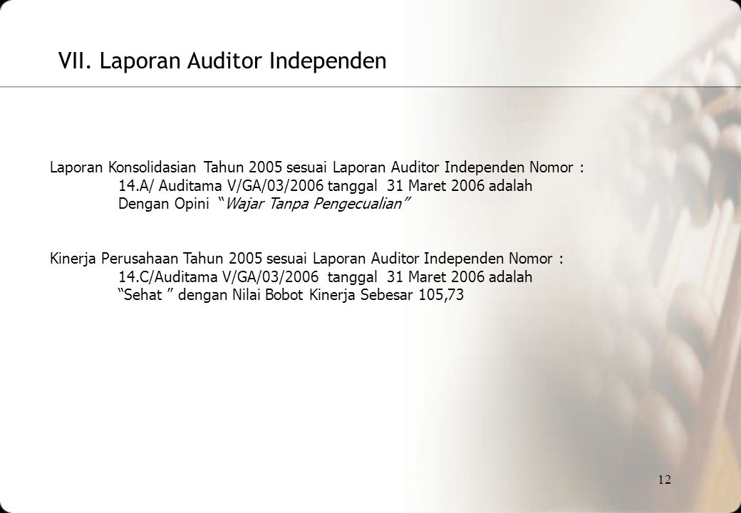 VII. Laporan Auditor Independen