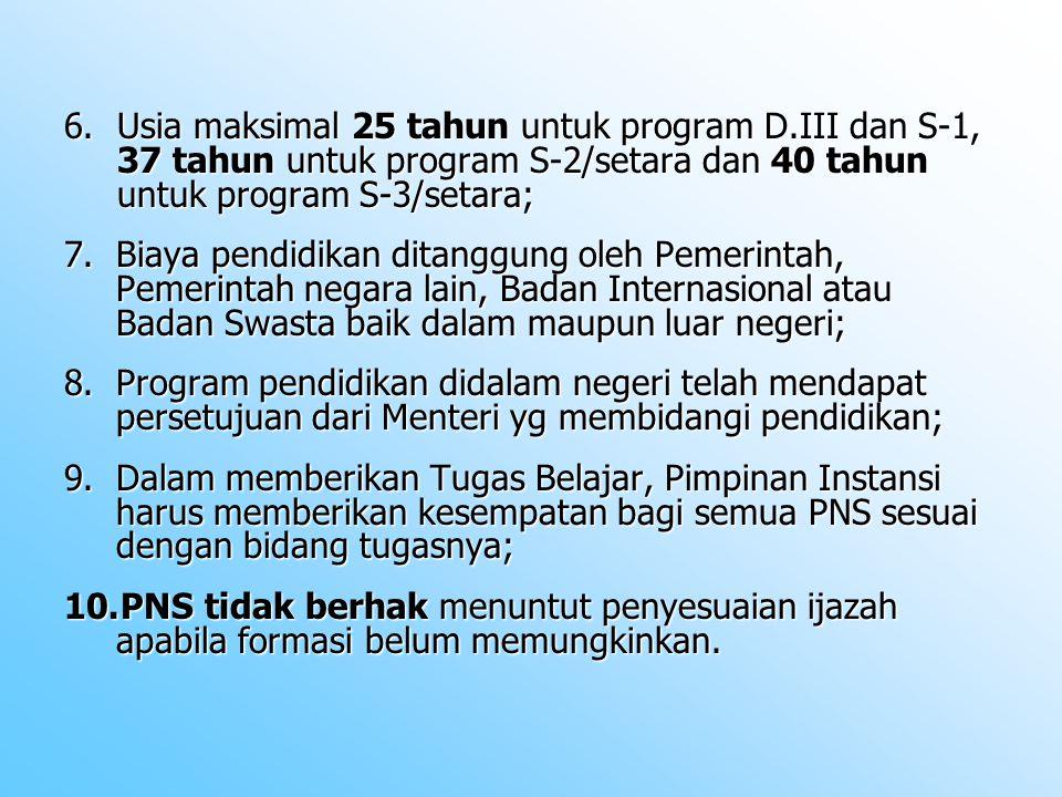 Usia maksimal 25 tahun untuk program D