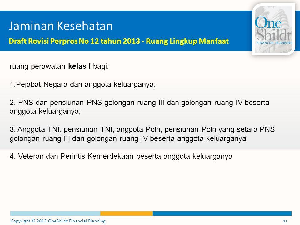 Jaminan Kesehatan Draft Revisi Perpres No 12 tahun 2013 - Ruang Lingkup Manfaat. ruang perawatan kelas I bagi: