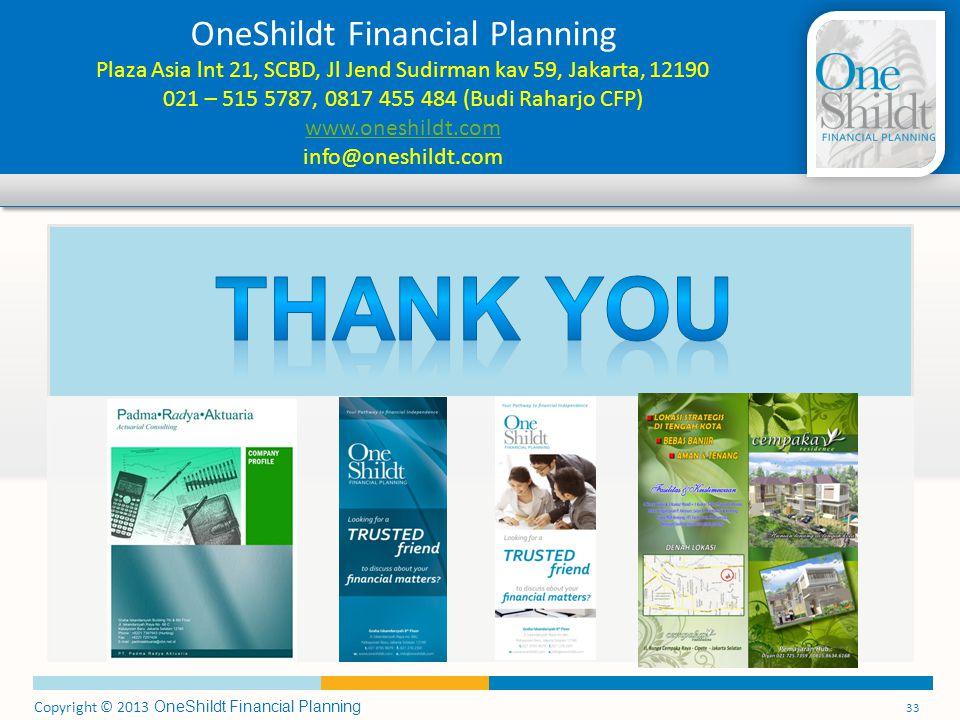 OneShildt Financial Planning Plaza Asia lnt 21, SCBD, Jl Jend Sudirman kav 59, Jakarta, 12190 021 – 515 5787, 0817 455 484 (Budi Raharjo CFP) www.oneshildt.com info@oneshildt.com