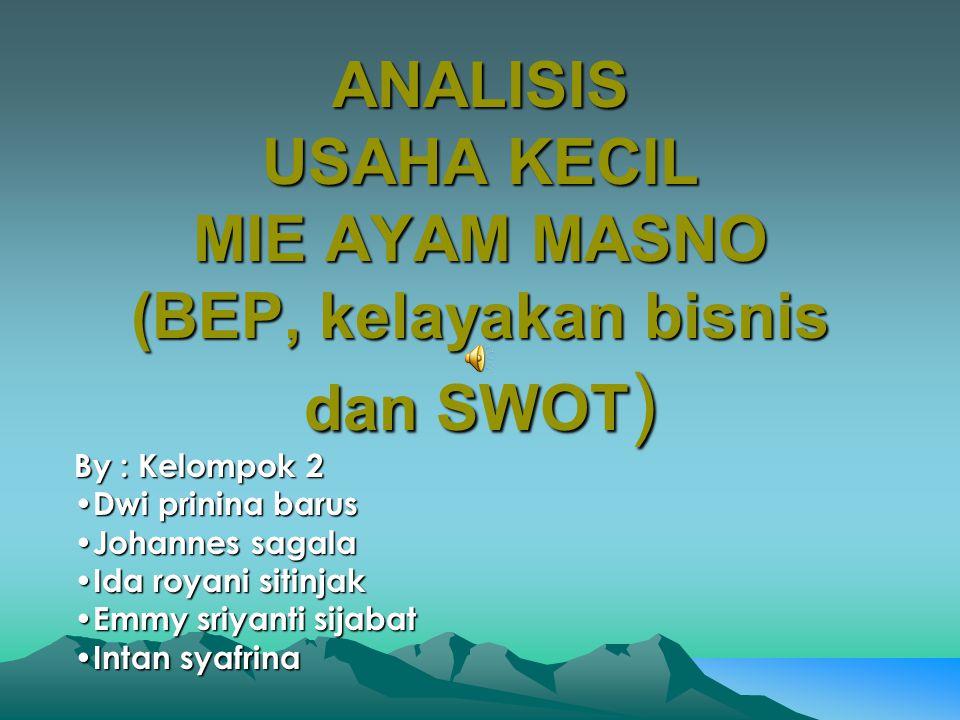 ANALISIS USAHA KECIL MIE AYAM MASNO (BEP, kelayakan bisnis dan SWOT)