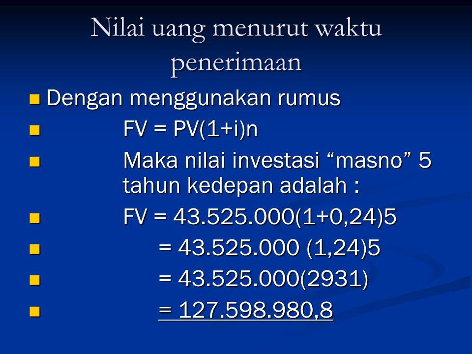 Nilai uang menurut waktu penerimaan