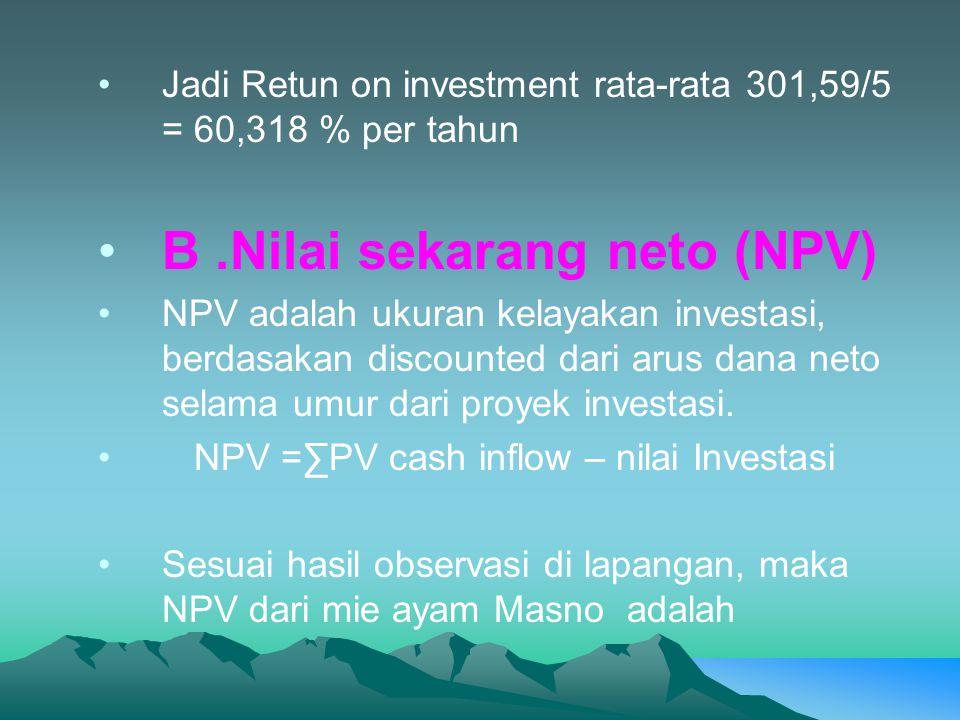B .Nilai sekarang neto (NPV)