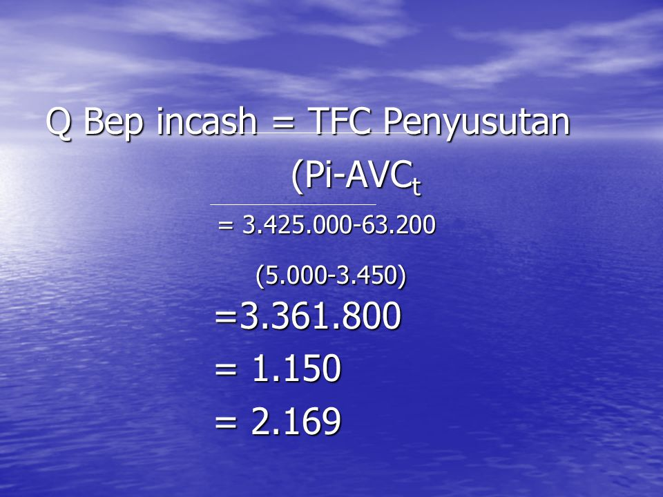 Q Bep incash = TFC Penyusutan