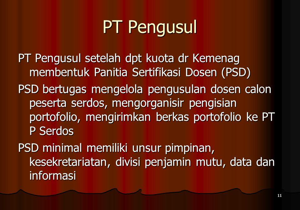 PT Pengusul PT Pengusul setelah dpt kuota dr Kemenag membentuk Panitia Sertifikasi Dosen (PSD)
