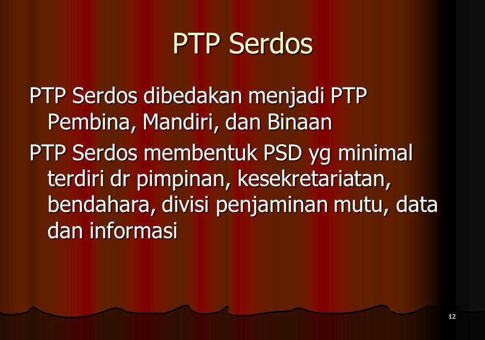 PTP Serdos PTP Serdos dibedakan menjadi PTP Pembina, Mandiri, dan Binaan.