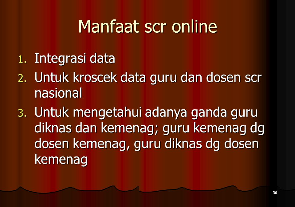 Manfaat scr online Integrasi data