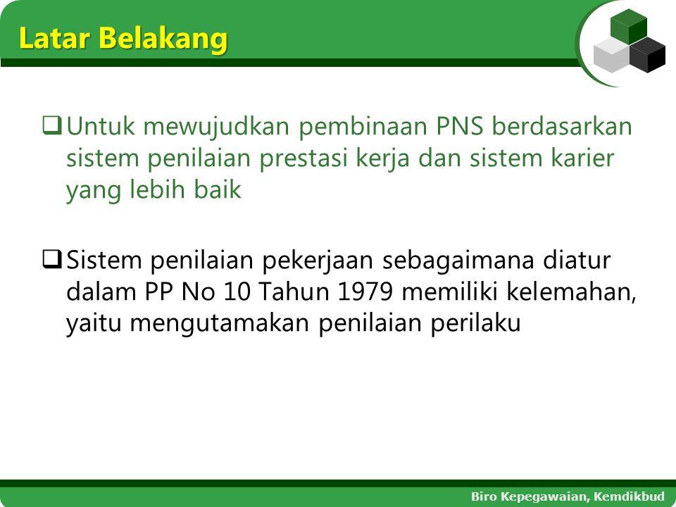 Latar Belakang Untuk mewujudkan pembinaan PNS berdasarkan sistem penilaian prestasi kerja dan sistem karier yang lebih baik.