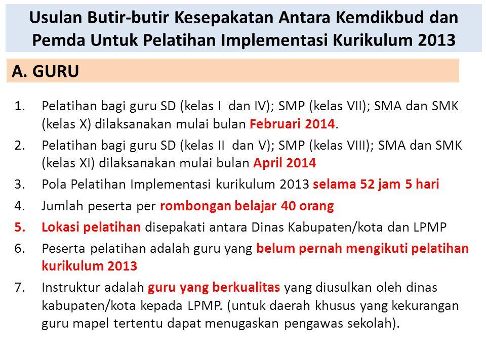 Usulan Butir-butir Kesepakatan Antara Kemdikbud dan Pemda Untuk Pelatihan Implementasi Kurikulum 2013