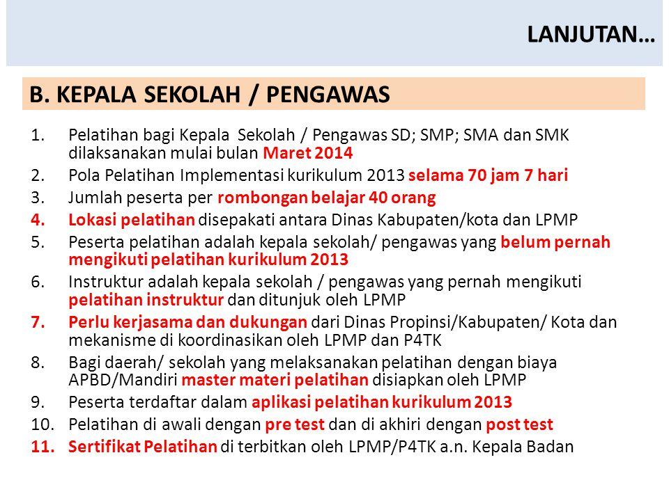B. KEPALA SEKOLAH / PENGAWAS