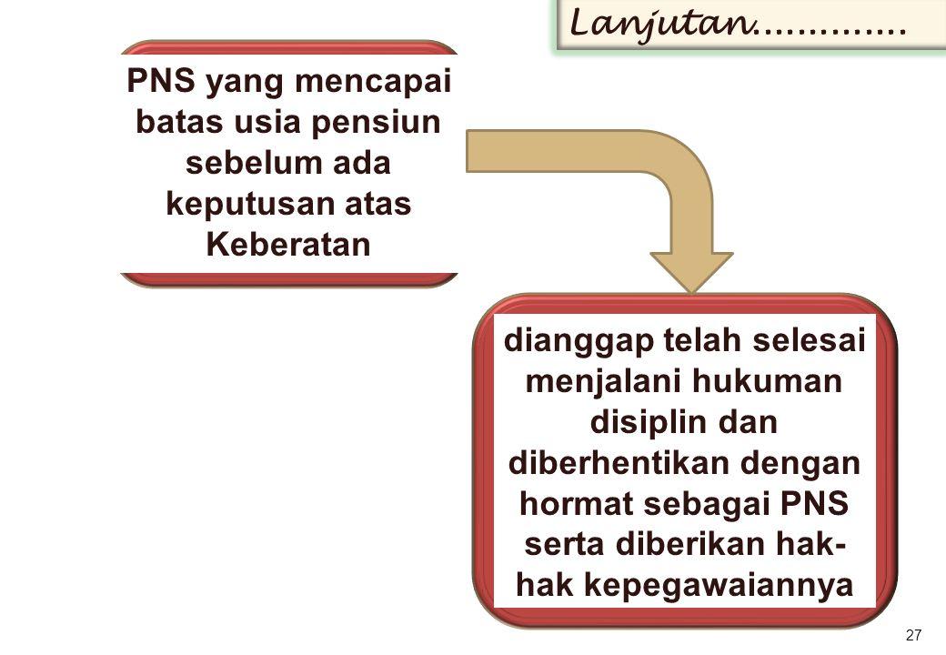 Lanjutan.............. PNS yang mencapai batas usia pensiun sebelum ada keputusan atas Keberatan.