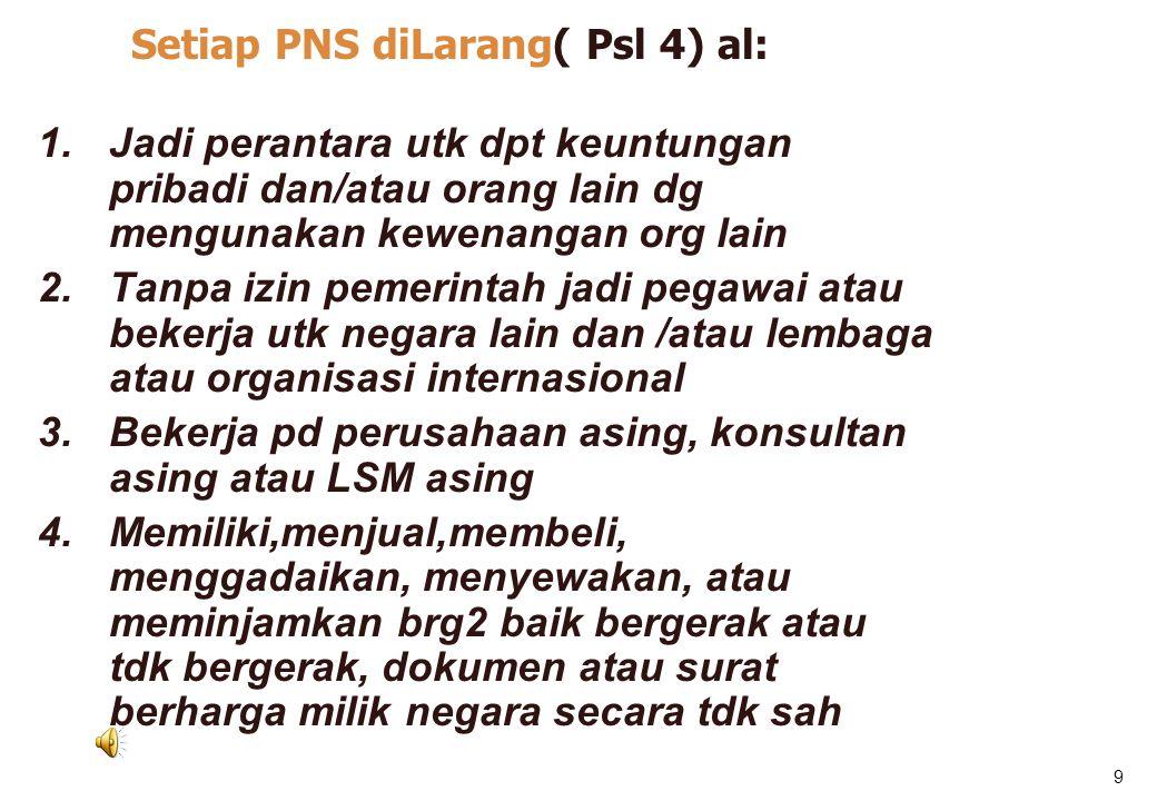 Seti Setiap PNS diLarang( Psl 4) al: ap PNS diLarang( Psl 4) al