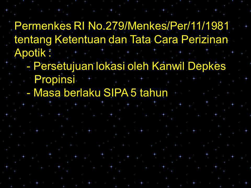 Permenkes RI No.279/Menkes/Per/11/1981