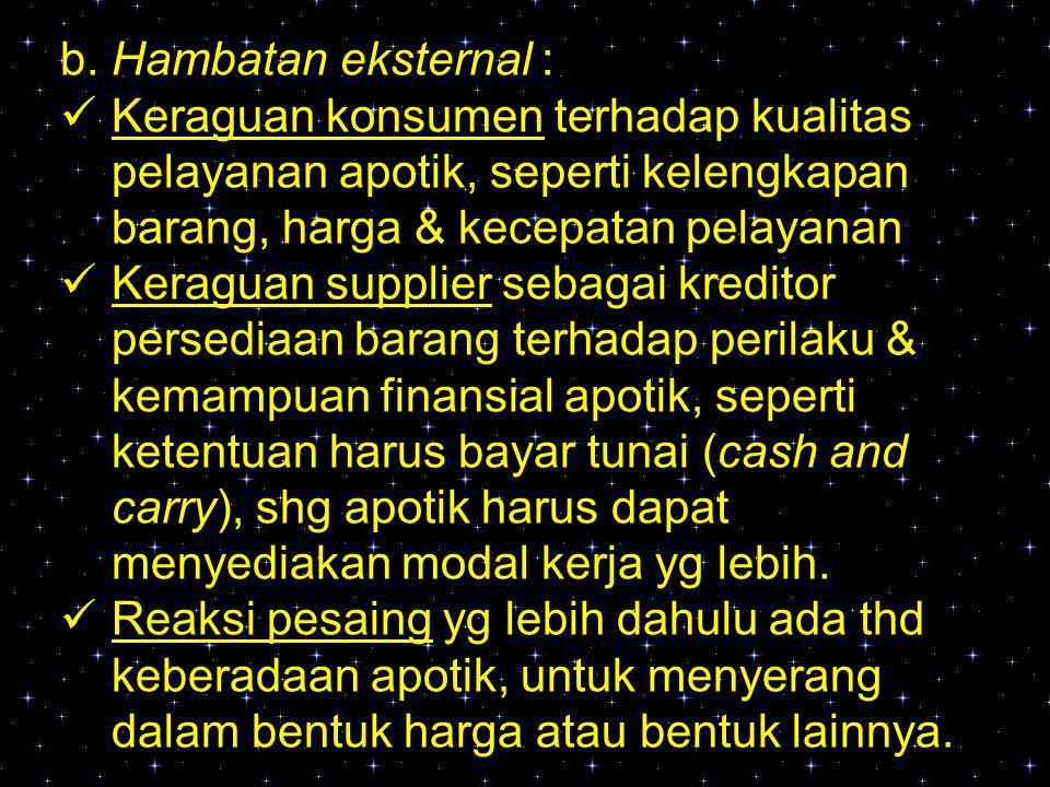b. Hambatan eksternal : Keraguan konsumen terhadap kualitas pelayanan apotik, seperti kelengkapan barang, harga & kecepatan pelayanan.
