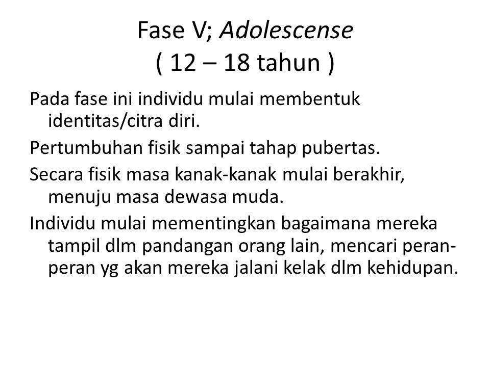 Fase V; Adolescense ( 12 – 18 tahun )