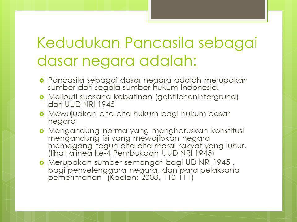 Kedudukan Pancasila sebagai dasar negara adalah: