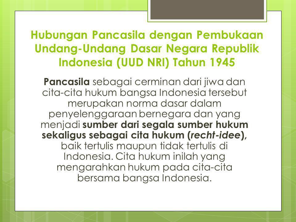 Hubungan Pancasila dengan Pembukaan Undang-Undang Dasar Negara Republik Indonesia (UUD NRI) Tahun 1945