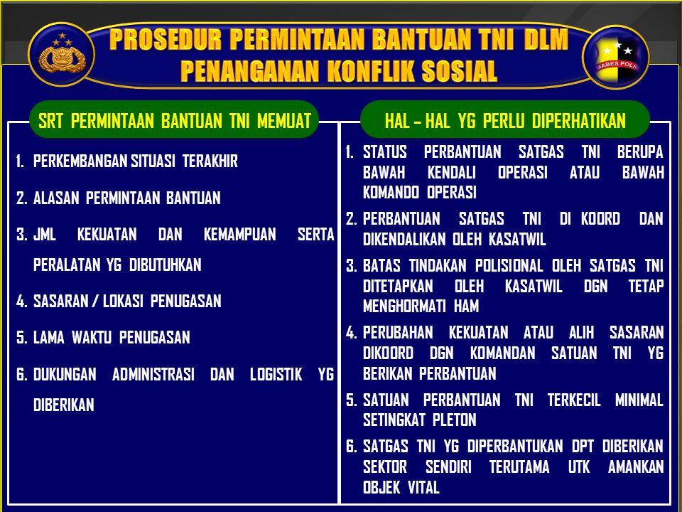 PROSEDUR PERMINTAAN BANTUAN TNI DLM PENANGANAN KONFLIK SOSIAL