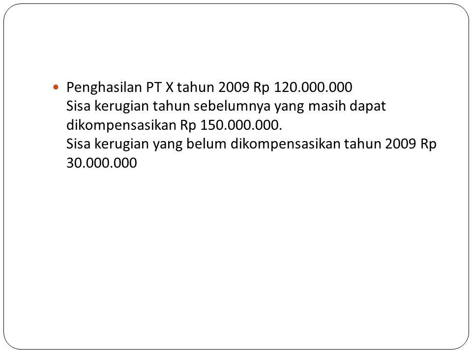 Penghasilan PT X tahun 2009 Rp 120. 000