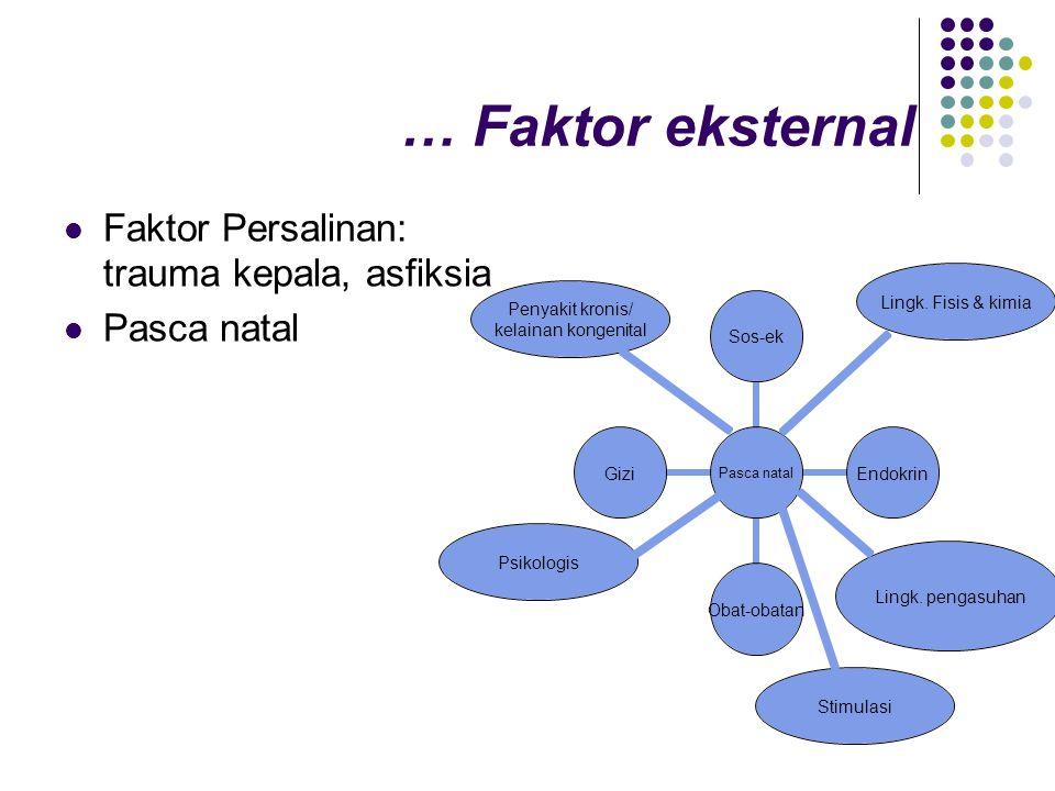 … Faktor eksternal Faktor Persalinan: trauma kepala, asfiksia