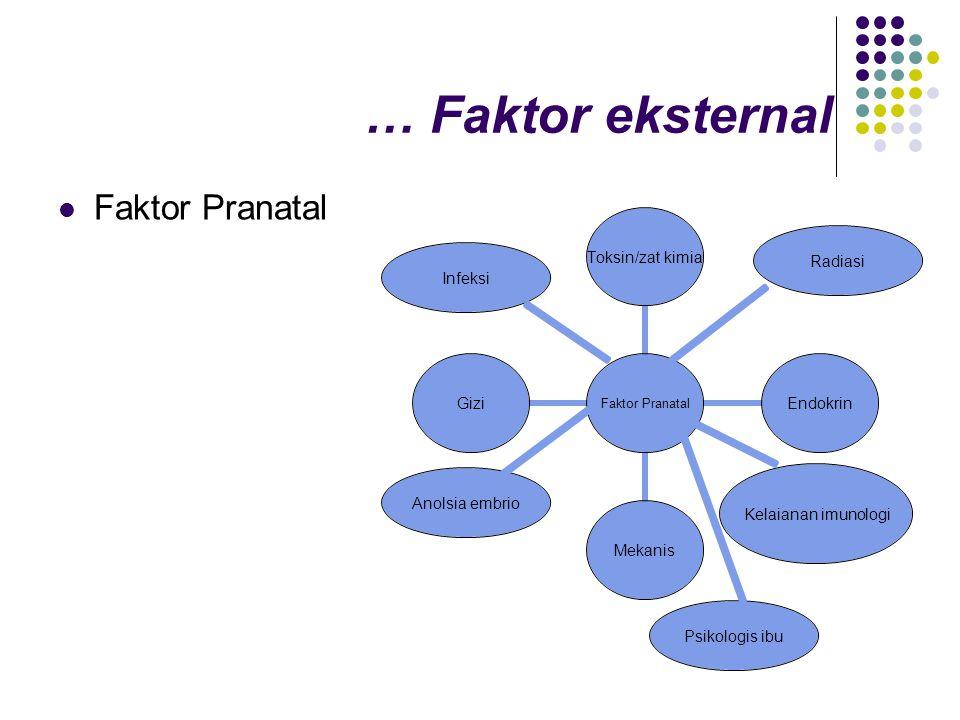 … Faktor eksternal Faktor Pranatal