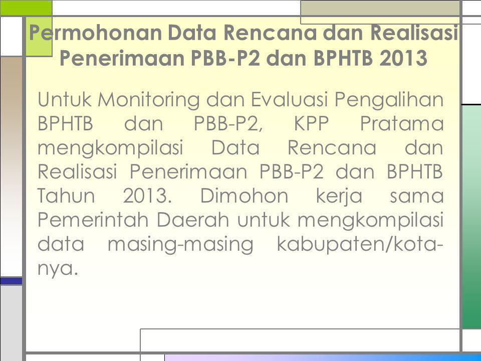Permohonan Data Rencana dan Realisasi Penerimaan PBB-P2 dan BPHTB 2013