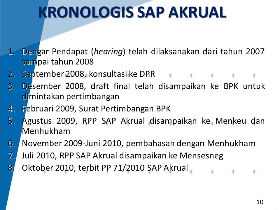 KRONOLOGIS SAP AKRUAL Dengar Pendapat (hearing) telah dilaksanakan dari tahun 2007 sampai tahun 2008.