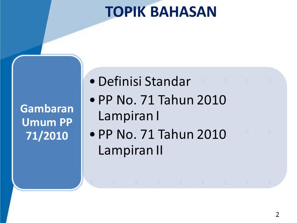TOPIK BAHASAN Definisi Standar PP No. 71 Tahun 2010 Lampiran I
