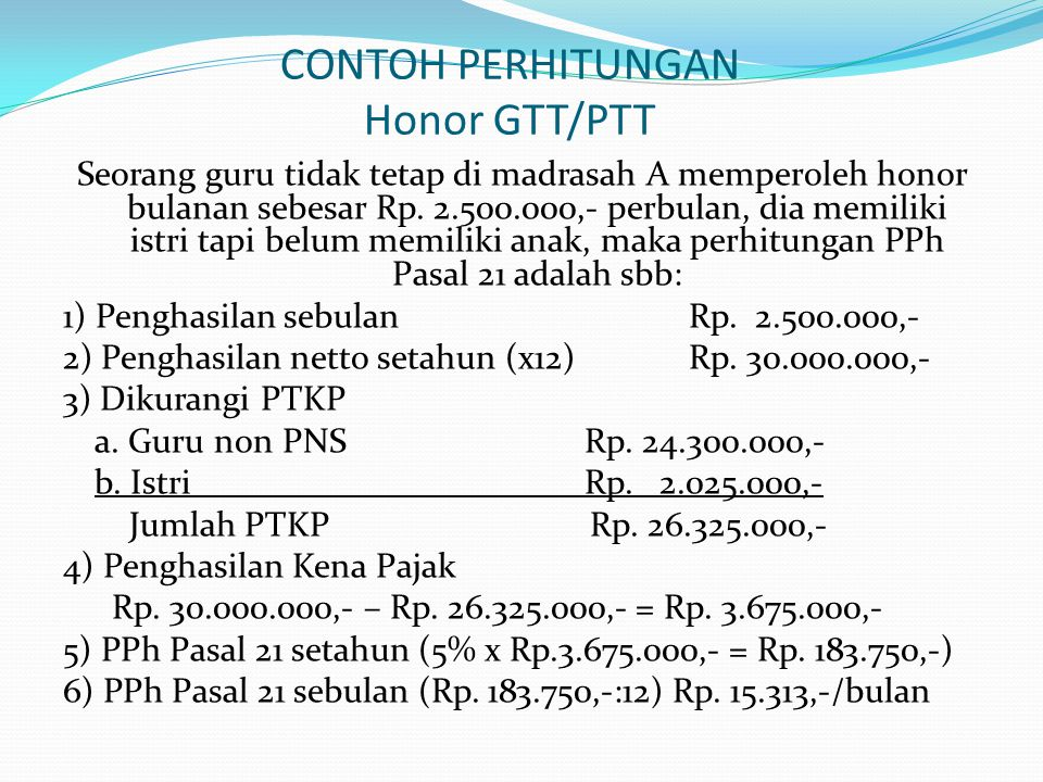 CONTOH PERHITUNGAN Honor GTT/PTT
