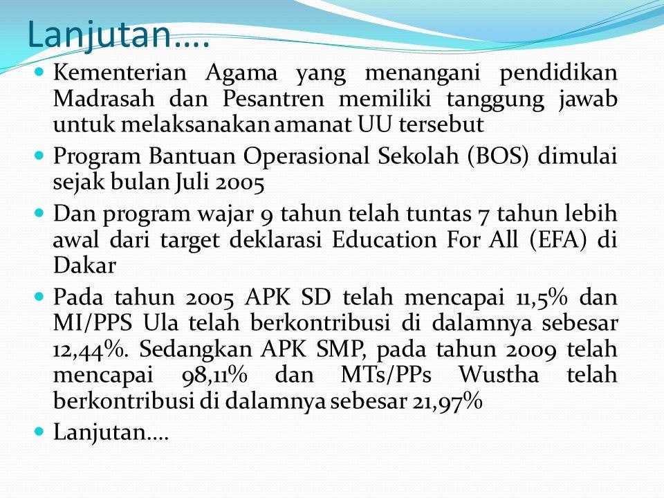 Lanjutan…. Kementerian Agama yang menangani pendidikan Madrasah dan Pesantren memiliki tanggung jawab untuk melaksanakan amanat UU tersebut.