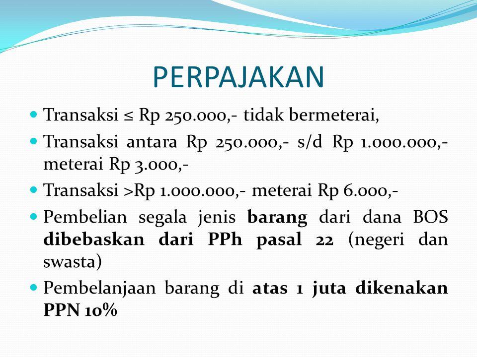 PERPAJAKAN Transaksi ≤ Rp 250.000,- tidak bermeterai,