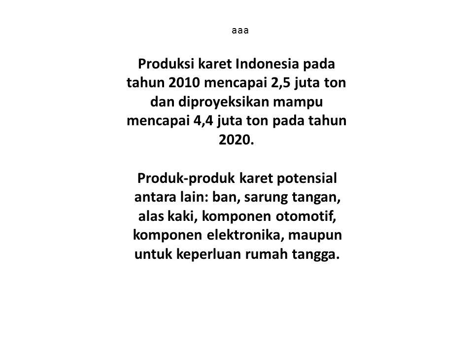 aaa Produksi karet Indonesia pada tahun 2010 mencapai 2,5 juta ton dan diproyeksikan mampu mencapai 4,4 juta ton pada tahun 2020.