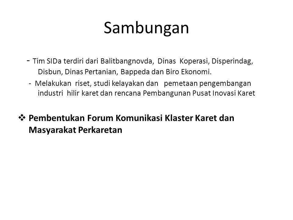 Sambungan - Tim SIDa terdiri dari Balitbangnovda, Dinas Koperasi, Disperindag, Disbun, Dinas Pertanian, Bappeda dan Biro Ekonomi.