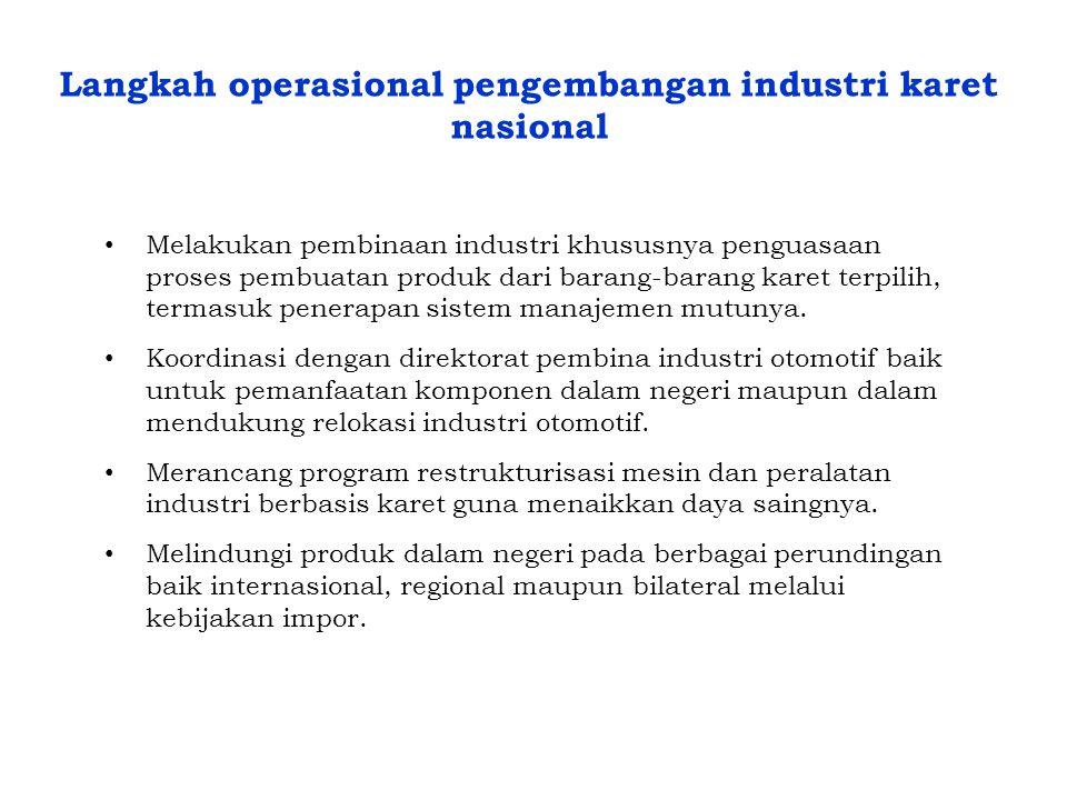 Langkah operasional pengembangan industri karet nasional