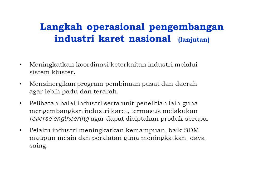 Langkah operasional pengembangan industri karet nasional (lanjutan)