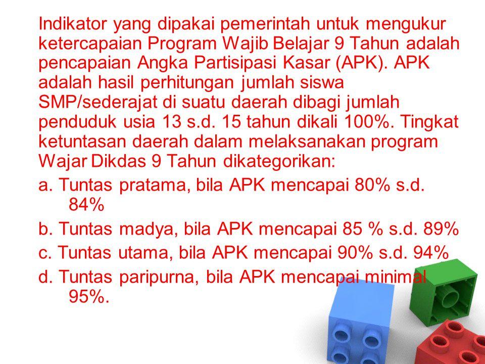 Indikator yang dipakai pemerintah untuk mengukur ketercapaian Program Wajib Belajar 9 Tahun adalah pencapaian Angka Partisipasi Kasar (APK).