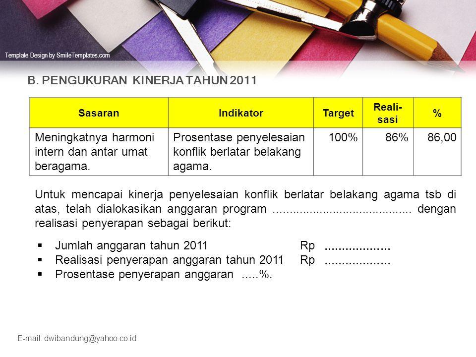 B. PENGUKURAN KINERJA TAHUN 2011
