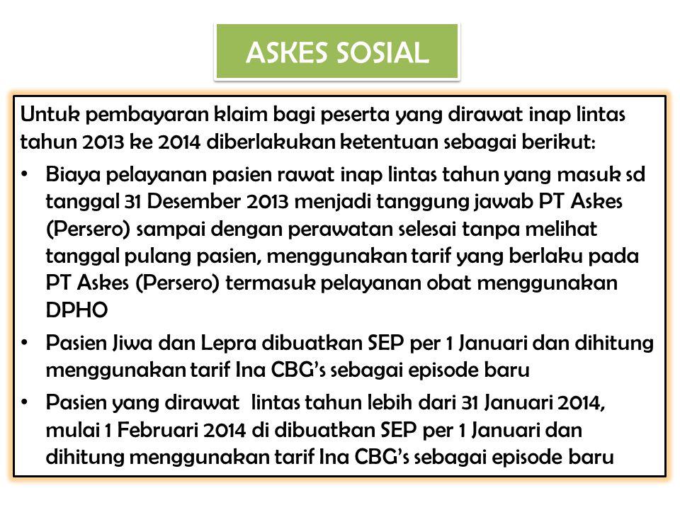 ASKES SOSIAL Untuk pembayaran klaim bagi peserta yang dirawat inap lintas tahun 2013 ke 2014 diberlakukan ketentuan sebagai berikut:
